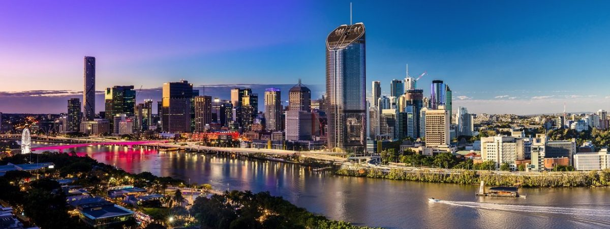 Panoramic day and night areal image of Brisbane CBD and South Bank, Queensland, Australia